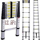 Intbuying Best 13 Foot Step Folding Aluminum Frame Telescopic Extension Ladder