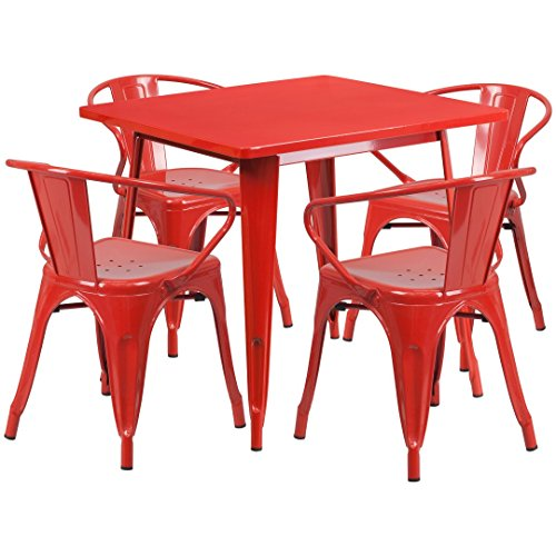 MFO 31.5'' Square Red Metal Indoor-Outdoor Table Set with 4 Arm Chairs