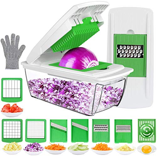 Vegetable Choppers, Food Chopper Cutter Onion Slicer Dicer, Veggie Slicer Manual Mandolin Slicer for Garlic, Cabbage, Carrot, Potato, Tomato, Fruit, Salad