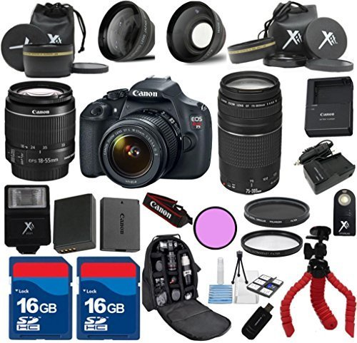 Canon Rebel T5 Camera Body with Canon 18-55mm IS Lens and Canon 75-300mm III Telephoto Lens + Premium Bundle with Deluxe Backpack + 24pc Accessory Bundle Kit - International Version