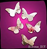 Alrens_DIY(TM) 5 pcs Large Butterfly DIY Acrylic Mirror Surface Crystal Wall Stickers 3D Home Decal Living Room Murals Wall Paper Décor