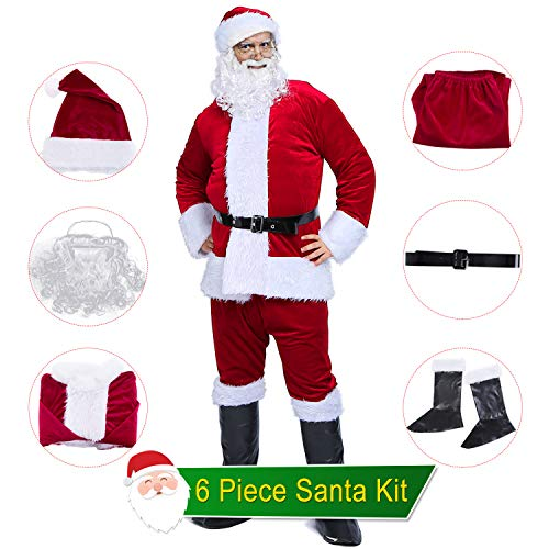 BESAZW Holidays Complete Santa Suit for Men with Beard Adult Men Christmas Santa Claus Costume Cosplay Suit Outfit Burgundy Regular Size
