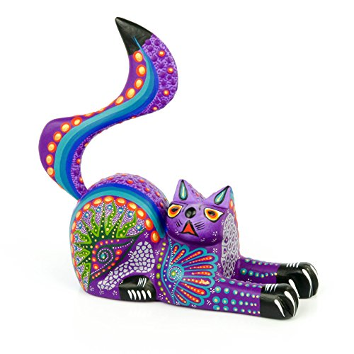 PURPLE CAT Oaxacan Alebrije Wood Carving Mexican Folk, used for sale  Delivered anywhere in Canada