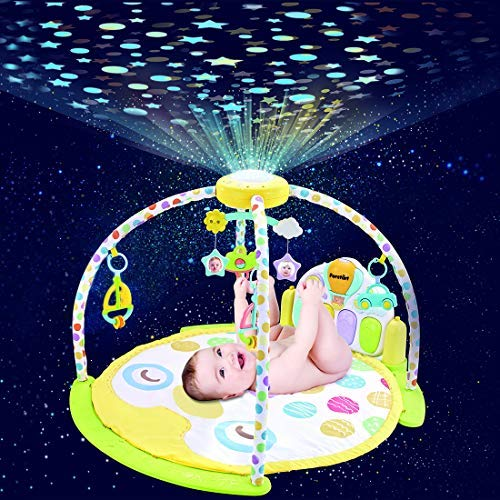 (Forstart Kick and Play Piano Play Gym Night Moon Stars Light Projector Large Activity Play Mat Newborn for Baby 1-18 Month Sit Lay Down Infant Tummy Time Sensory Development Educational Playtime)