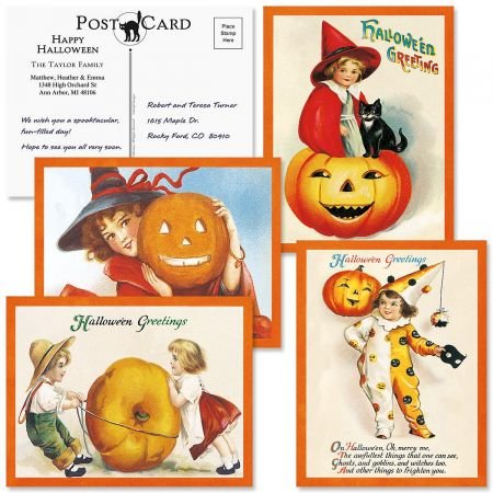 Colorful Images Personalized Happy Haunting Halloween Postcards - Set of 24 5-1/4
