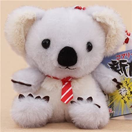 Lindo muñeco de peluche koala gris crema corbata raya blanca roja ...