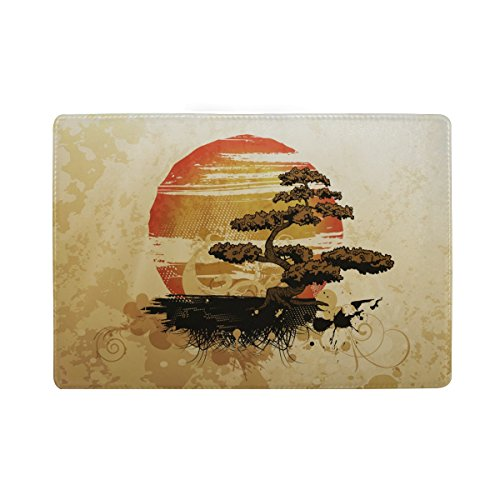 Blue Viper Japanese Style Bonsai Tree Personalized Leather Passport Holder Cover Case Travel Wallet