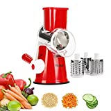 Manual Rotary Cheese Grater - Round Tumbling Box Shredder for Vegetable, Nuts, Potato with 3 Sharp Drums Blades and Strong Suction Base