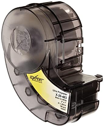 """Brady X-20-483 IDXPERT 1"""" Height, 2"""" Width, B-483 Ultra Aggressive Polyester, Black On White Color Label (100 Per Cartridge)"""