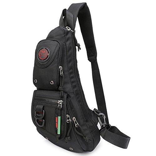 Sling Backpacks, Sling Chest Bags Shoulder Fanny Pack Crossbody Bags for Men Women Outdoor Travel Walking Dog Running (Black) ()