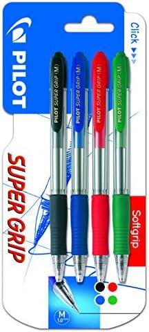 Pilot Spain Super Grip - Pack de 4 bolígrafos, punto medio ...