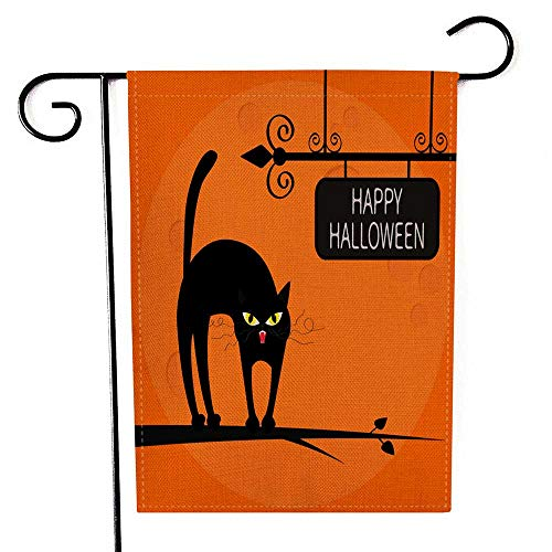 Small American Flags Halloween Pattern Double Sided Printing Garden Flag Cat on The Tree Outdoor Decorative Flags 12.5 x 18 inch]()