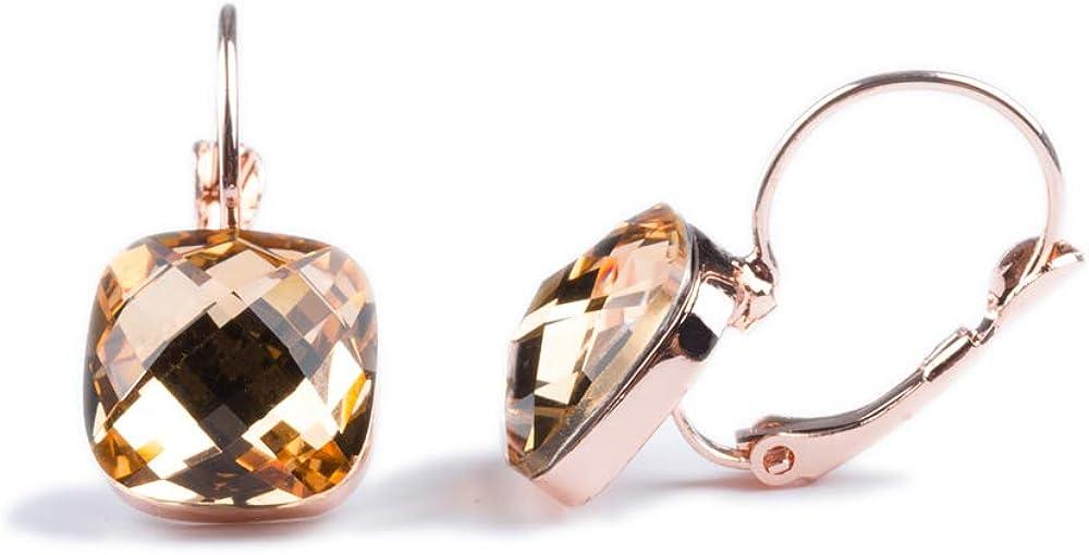 Emma gioielli–pendientes de mujer colgantes con forma de gancho PL. Oro Rosa con cristales Swarovski Elements Cuadrados Amarillo canario citrino–Pack de regalo