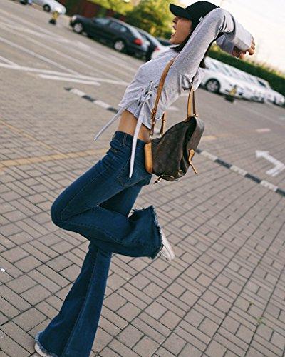 Minetom Mujer Otoño Moda Lado Tejer Cordón Camisetas De Manga Larga Atractivo Delgado Crop Top Color Sólido Pullover Gris
