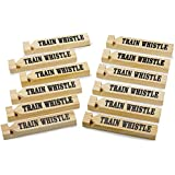 """12 Pack Wooden Train Whistles, 5.75"""" – Printed On A Locomotive And Words TRAIN WHISTLE and CHOO CHOO! - For Kids Of All Ages, Great Party Favor - By Kidsco"""