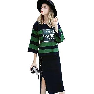 Chang Xuan Womens Stripe Sweater Pullover 2 Piece Set Women Suits