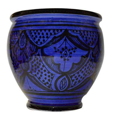Pots Mexican Ceramic (Flower Pot Moroccan Spanish Garden Drain Hole Ceramic Planter Handmade Blue)