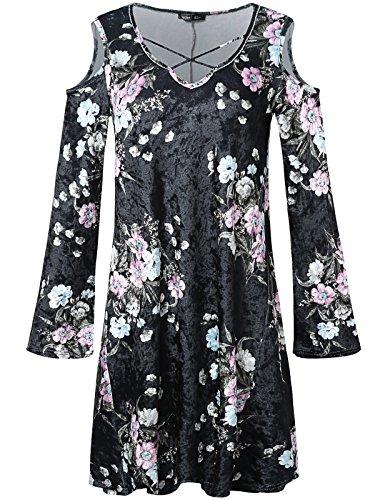 JayJay Women Flower Print Velvet Off Shoulder Bell Sleeve Caged Neck Shirt Tunic Dress,Floral/Black,XL