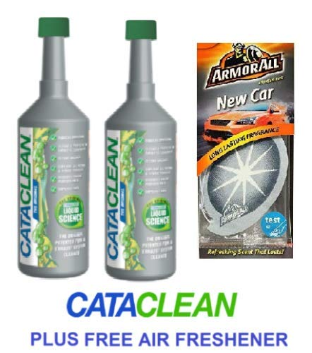 2 x Cataclean Engine and Catalytic Converter Cleaning Treatment & 2 Fruit Air Fresheners GREEN CAP