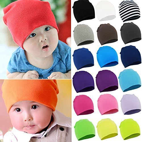 American Trends Toddler Infant Cotton Hat Unisex Knit Stretchy Baby Caps Casual Newborn Kids Lovely Soft Warm Beanies A 3 Pack-Black Stripe Grey Large (1-4 Years) by American Trends (Image #4)