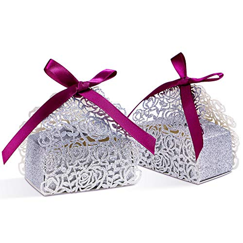 PONATIA 50 PCS Laser Cut Silver Glitter Boxes with Burgundy Ribbons Wedding Party Favor, Wedding Gift Bags Chocolate Candy and Gift Boxes (Silver Glitter)