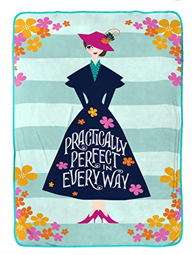 Jay Franco Disney Mary Poppins Practically Perfect Blanket - Measures 62 x 90 inches, Kids Bedding - Fade Resistant Super Soft Fleece (Official Disney Product)