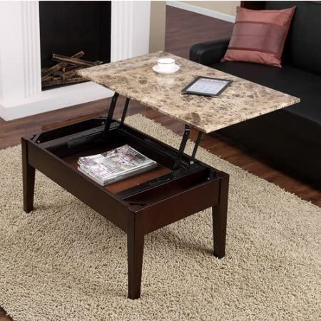 Amazon Com Lift Top Coffee Table Faux Marble Top Hidden Extra