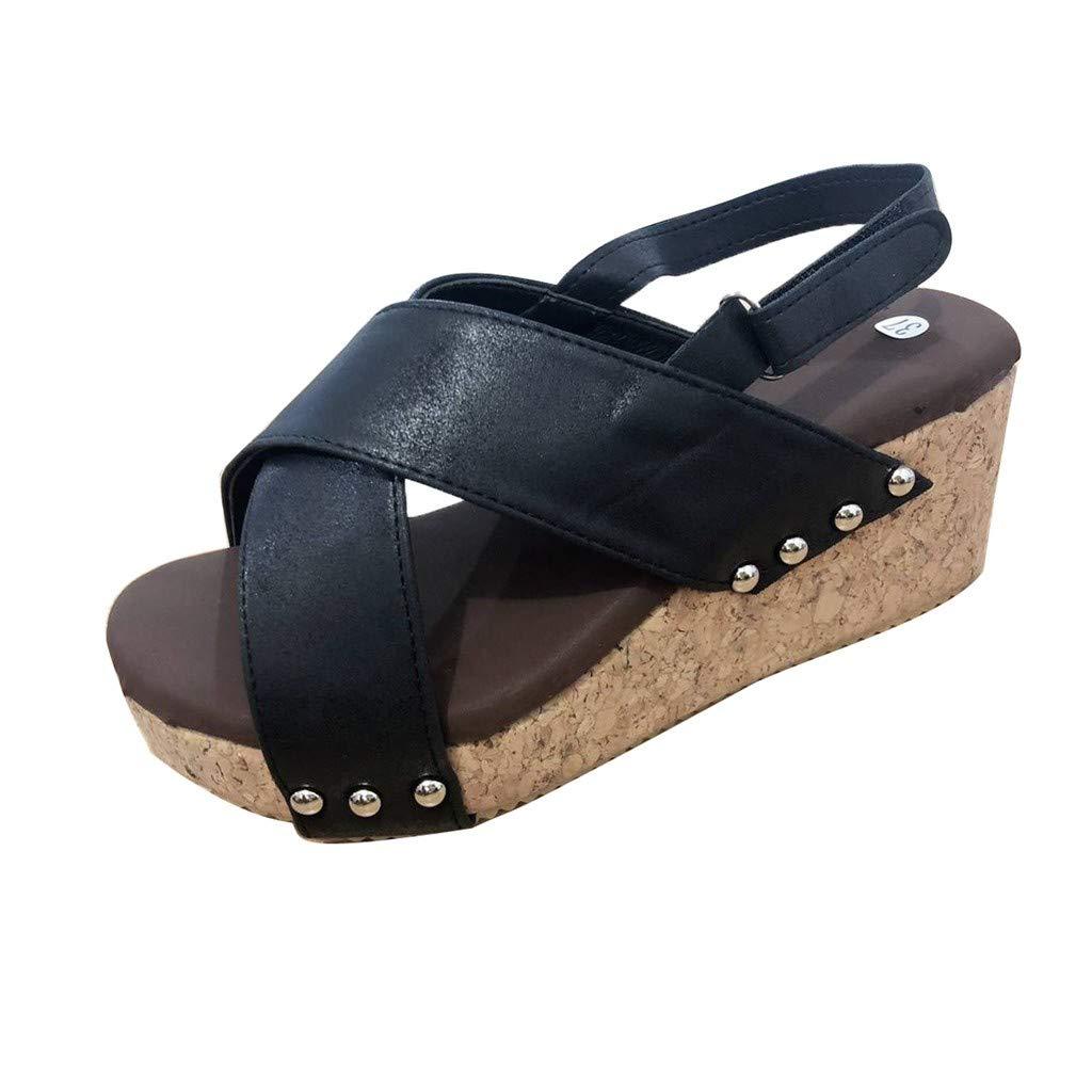 Women Platform Wedges Sandals,Sunyastor Cutout Belt Wedges Sandals Faux Leather Cork Ankle Strap Beach Dress Wedding Shoes Black