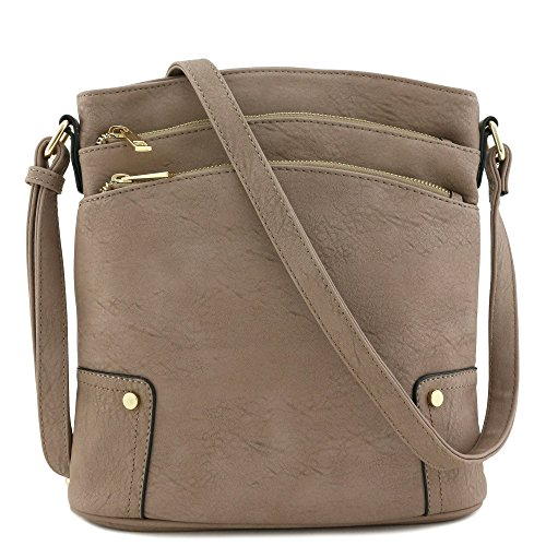 Triple Zip Pocket Large Crossbody Bag (Mocha)