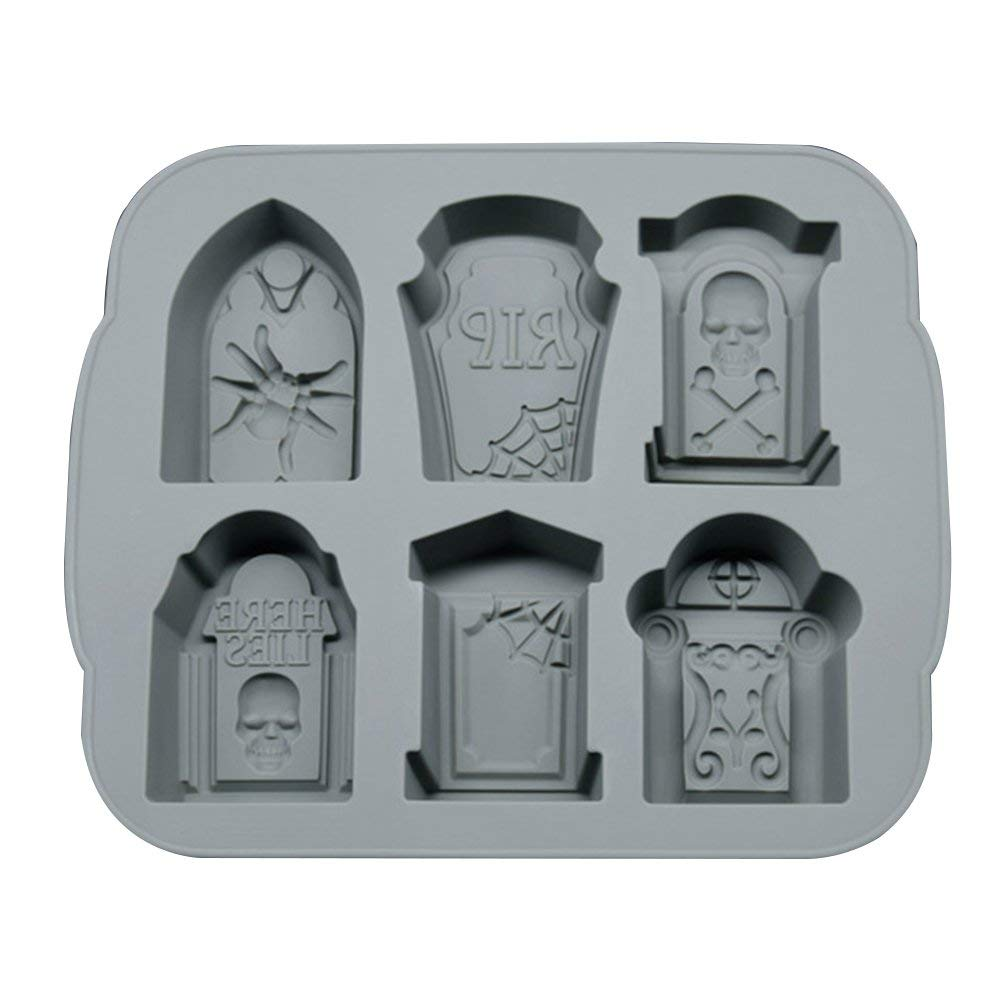 Halloween Silicone Mould RIP Gravestone Ice Cube Trays Cake Chocolate Fondant Cake Baking DIY Tools - Grey by Joysiya