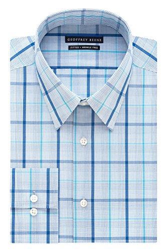 (Geoffrey Beene Men's Fitted Exploded Check Shirt, Blue Haze, 15