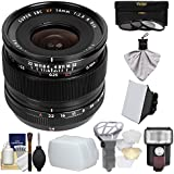 Fujifilm 14mm f/2.8 XF R Lens with Flash + Soft Box + 2 Diffusers + 3 Filters Kit for X-A2, X-E2, X-E2s, X-M1, X-T1, X-T10, X-Pro2 Cameras