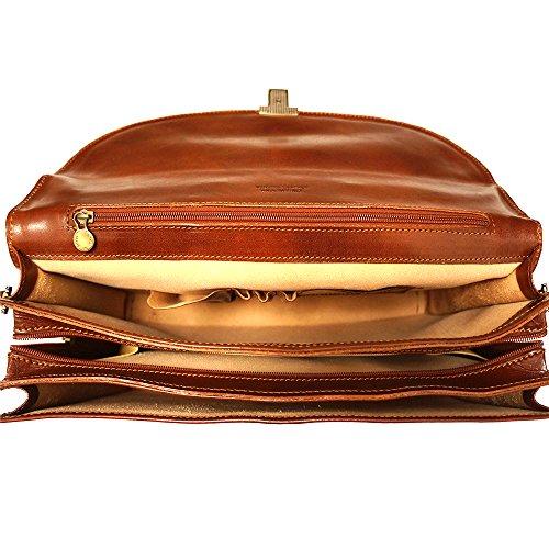 Cartera 7617 Cuero marrón Compartimientos 3 De rcSzPr