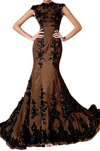 Spitze Abendkleid Festkleid Elegant Damen Schokolade Applikation Chiffon Ivydressing Mermaid Lang qE8Bxw0a