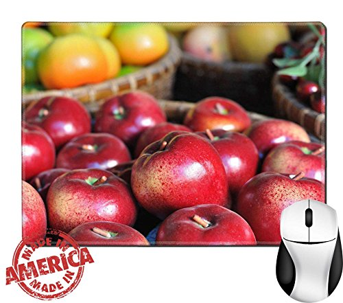 "Luxlady Natural Rubber Mouse Pad/Mat with Stitched Edges 9.8"" x 7.9"" Red apples showing in wooden basket IMAGE 25162453"