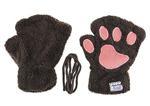 Women Kids Girls Boys Faux Fur Bear Cat Paw Claw Warm Plush Fingerless Gloves Mittens Halloween Fancy Party Cosplay Costume Props