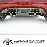 C5 Corvette Exhaust Filler Panel Polished Stainless Steel with Crossed Flag Emblem Fits: All 97 through 04 Corvettes with stock exhaust
