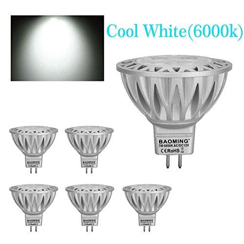 BAOMING MR16 LED BULB 7W Cool White(6000k) 50W Halogen Equivalent Bi Pin GU5.3 Base 12V AC/DC 560/lm Aluminum 38°Beam Angle (Gx5.3 Bi Pin Base)