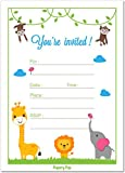 Birthday Party Invitations with Envelopes (15 Count) - Baby Shower Invites, Surprise Party - Safari Jungle Zoo Animals