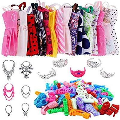 combnine 35 Pcs Doll Clothes Set for Barbie Dolls - Fashion Causal Skirts Outfits for Dressing Up Barbie Dolls - 12 Skirts + 12 Pairs of Shoes + 5 Tiaras + 6 Necklaces: Home & Kitchen