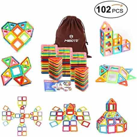 Mibote 102 PCS Magnetic Building Blocks Educational Toys Magnet Tiles Set Stacking Blocks for Toddler Kids