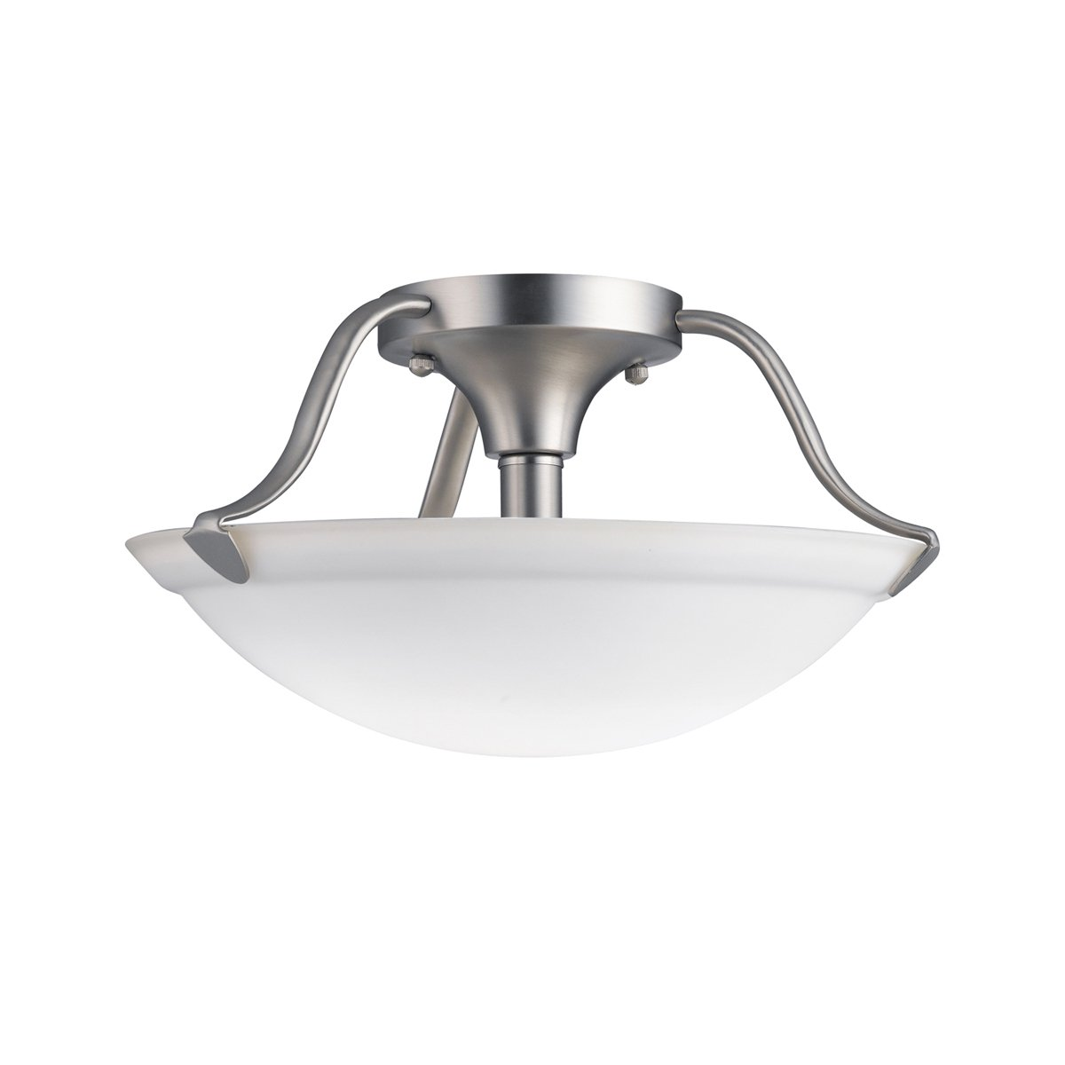 Kichler brushed nickel wall mt 1lt incandescent kichler brushed nickel - 3620ni Transitional 2lt Semi Flush Brushed Nickel Finish With White Etched Glass Close To Ceiling Light Fixtures Amazon Com