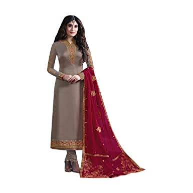 bc218ee28e Amazon.com: New Satin Georgette Designer Fancy Embroidered Salwar Kameez  suit for Women Custom to measure Indian Party wear 7601: Clothing