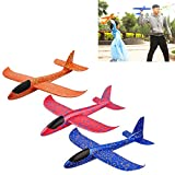 HAPTIME 3Pcs Durable Glider Plane Large Foam Airplanes Outdoor Sport Flying Toy