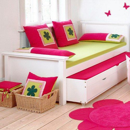 DELUXE Bett, Inkl. Gästebett, Jugendbett, Weiß Lackiert, 90x200cm, Inkl.  Lattenrost Günstig Online Kaufen