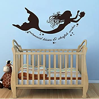 Attrayant Wall Decal Decor Mermaid Wall Decals Quote Mermaid Kisses U0026 Starfish Wishes  Vinyl Decal Sticker Baby