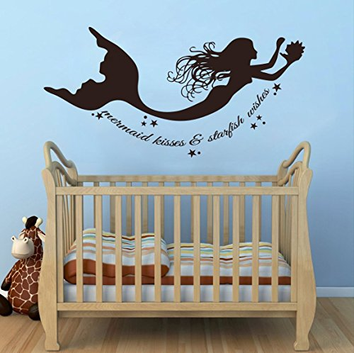 (Wall Decal Decor Mermaid Wall Decals Quote Mermaid Kisses & Starfish Wishes Vinyl Decal Sticker Baby Girl Nursery Room Bedding D¨¦cor(Dark Brown, 11.5