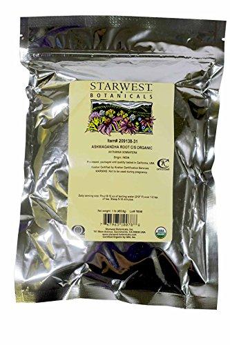 Ashwagandha Root Organic Cut & Sifted - Withania somnifera, 1 lb, by Starwest Botanicals
