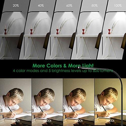 Joly Joy LED Modern Floor Lamps, Flexible Gooseneck Standing Reading Light W/Stable Base, 4 Color & 5 Brightness Dimmer, Touch & Remote Control, for Living Room, Chair, Couch, Office Task (Black) by Joly Joy (Image #2)