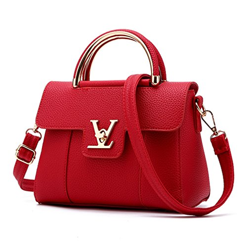 Flap V Women's Luxury Leather Clutch Bag Ladies Messenger Bags Famous Tote Bag Red
